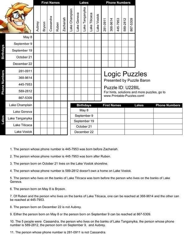 Whose Phone Is This Worksheet Free Printable Logic Puzzles With Images Logic Puzzles Logic Math Logic Puzzles