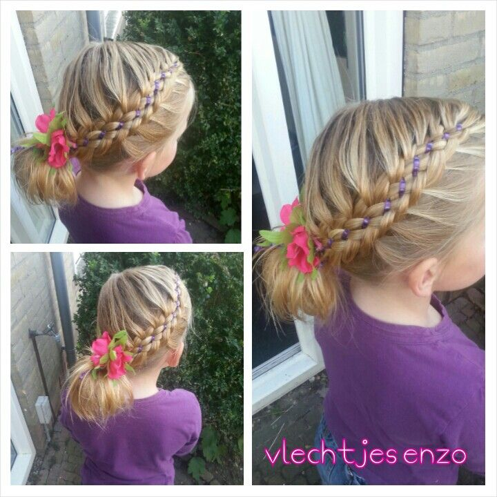 Six strand braid with ribbon. #cutegirlshairstyles #hairstylesforgirls #haircreations @vlechtjesenzo