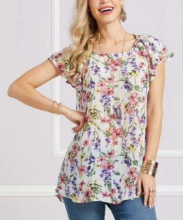 086c8faa Look what I found on #zulily! Lavender Floral Flutter-Sleeve Tunic - Women