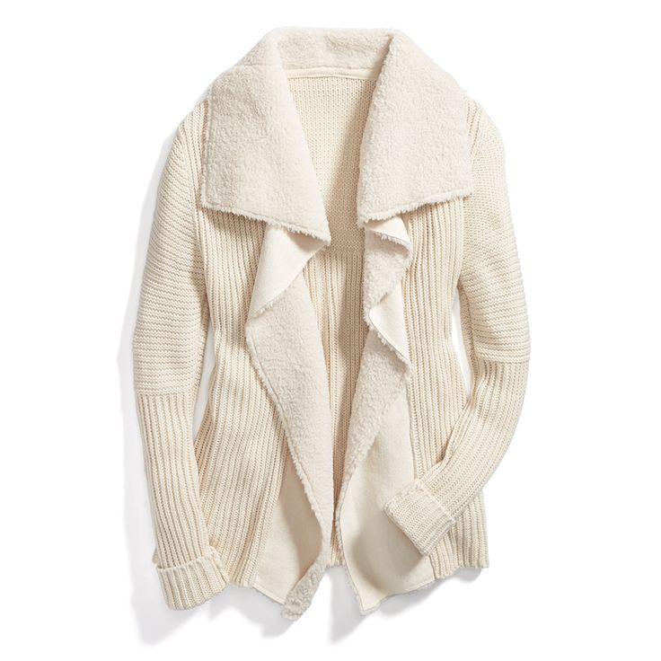 Stitch Fix Monthly Must-Haves: A shearling lined cardigan is warm and stylish. Lighten up your cold-weather palette with a cream sweater.