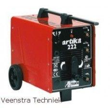 Telwin lasapparaat  Artika 220  - Ampèrage, min-max: 55 - 200  - Voltage: 230 - 400 Volt / 50 Hz  - Ontsteekspanning: 50 Volt  - Vermogen max: 2,5 / 7 kW  - Electroden, min-max: 24 mm  - Afmetingen: 750 x 360 x 490 mm  - Gewicht: 23 kg - Ampèrage, min-max: 40 - 200 Amp