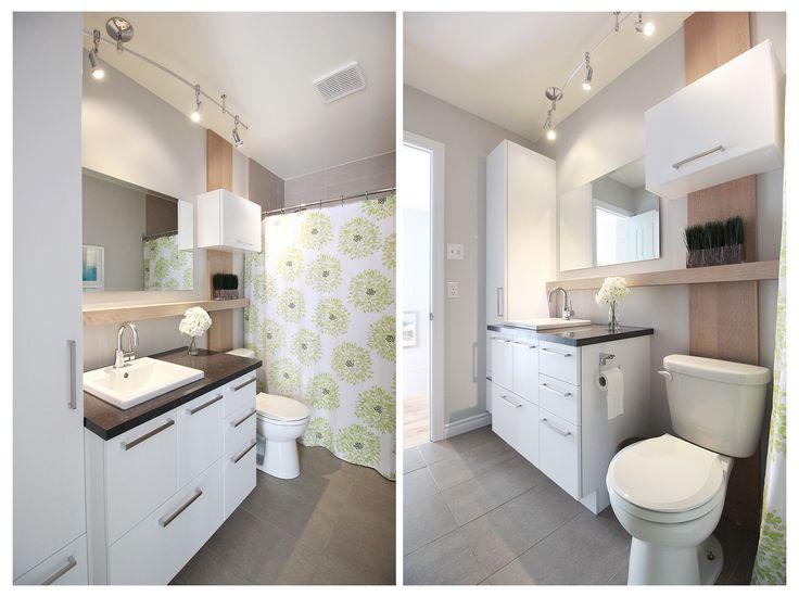 Petite salle de bain coquette avec design en bois de grange intéressant sur le mur