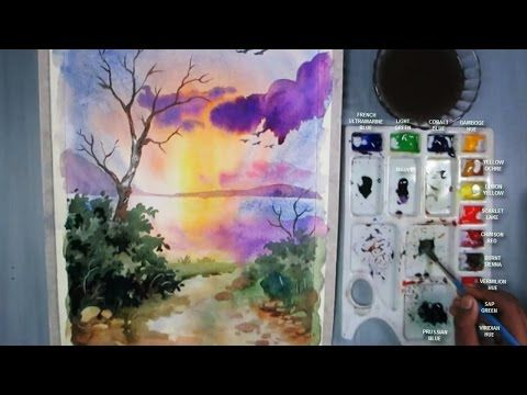 How to Paint Sunset in Watercolor - YouTube
