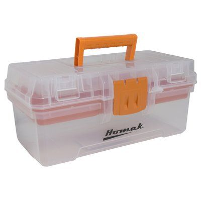 "Homak Plastic Transparent 12"" Tool Box"