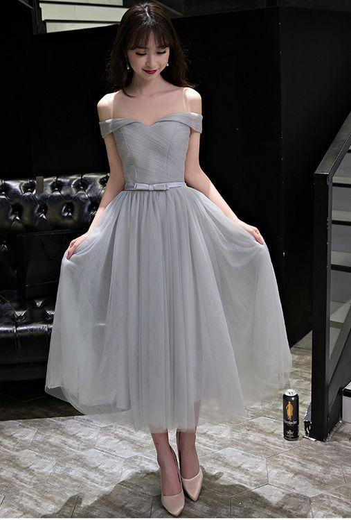 Elegant A-Line Off-Shoulder Tea-Length Tulle Prom Dress with Bowknot