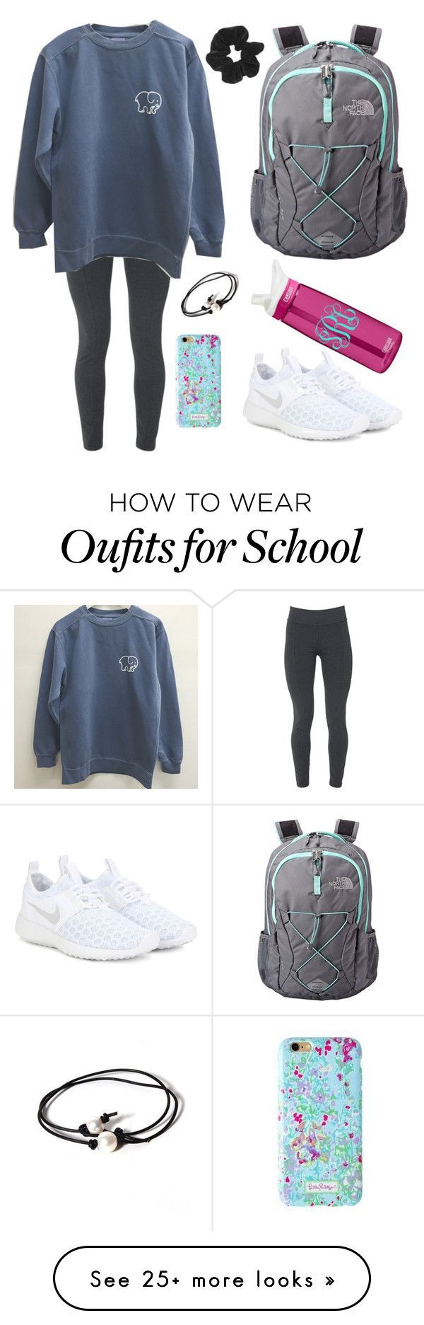 """""""school day"""" by jazmintorres1 on Polyvore featuring Fabrizio Gianni, NIKE, The North Face, Lilly Pulitzer, CamelBak, Joie, Topshop, women's clothing, women and female"""