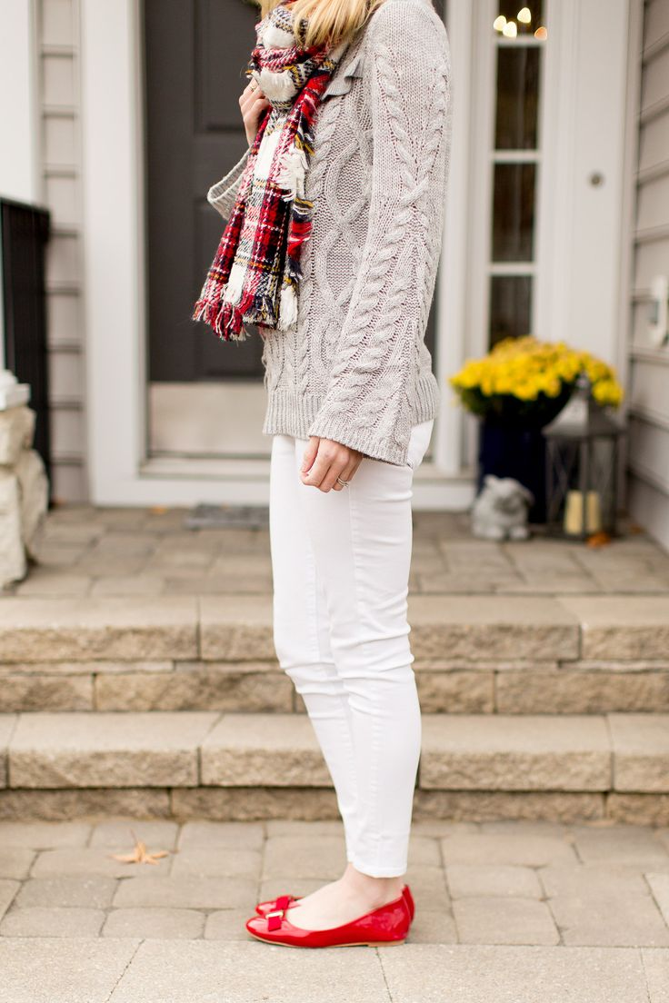 White jeans, gray sweater, red flats, plaid scarf