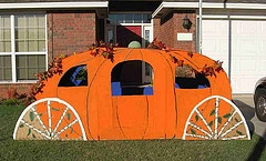 What a great party prop for a fairytale or princess party. I could so make a pumpkin carriage out of a refrigerator box!