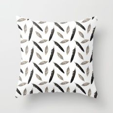Pattern with feather Throw Pillow