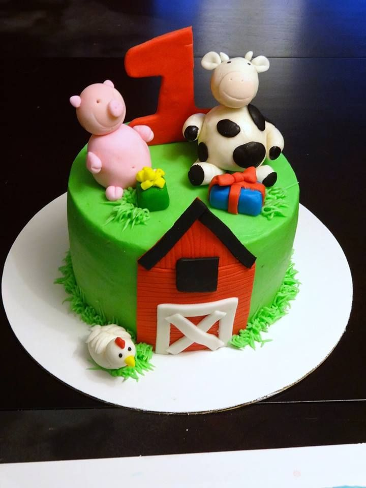 Farm Barnyard Animal Smash Cake Pakes 1st Birthday