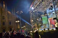 Nadia Mikushova. Italian popular rapper Caparezza is singing in Milan. stock photo