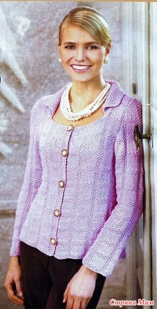 Elegant jacket with embossed pattern. Spokes. - Knitted fashion + NEMODELNYH FOR LADIES - Country Mom