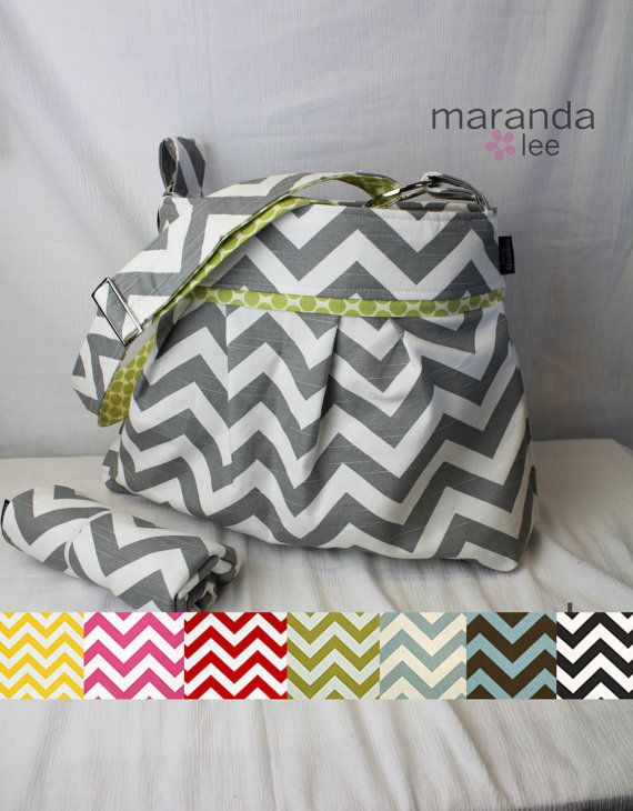 Stella Chevron Diaper Bag Set Large with Changing Pad  in Custom Chevron Fabric -Adjustable Strap Elastic Pockets Attaches to Stroller