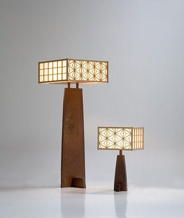Asanoha Lamp | George Nakashima Beautiful! Sleek, sharp edges, gentle curves, square patterned shades, wood! ▇ #Home #Design #Decor