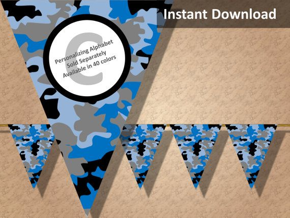 Blue camo party banner! Perfect for a hunting, military, camping or lazer tag party! Find more printable camouflage party decorations at CameoPartyDesigns.etsy.com #camoparty #camouflageparty #partydecorations