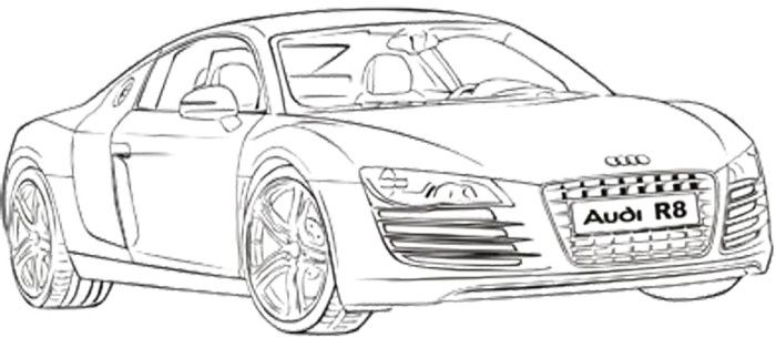 audi r8 coupe coloring page