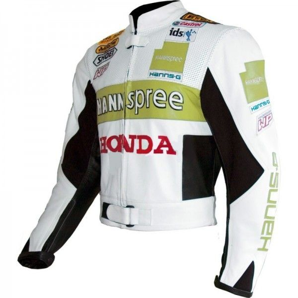 Men's Three Tone Green White Black Honda CBR Hannspree Castrol Motorcycle Racing Leather Speed Hump Jacket
