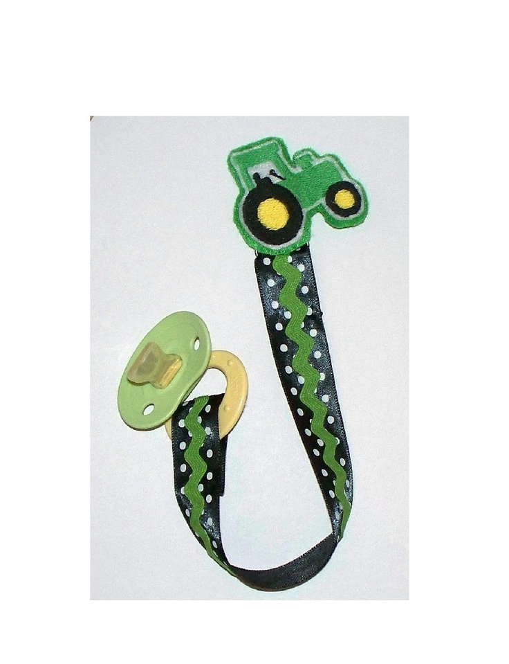 Baby Boy Pacifier Clip  Tractor in Green / by LittleTexasBabes, $10.00