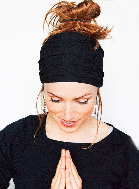 Namaste Black Headband - Wide Headband Yoga Headband Boho Headband Running Headband Womens Hair Accessories Black Headwrap Nonslip Headband by MinitaStudio on Etsy