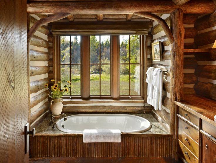 Rustikale Badezimmer Ideen von der Schönheit der Natur inspiriert #holz #steinwand #waschbecken #shower #waschtisch