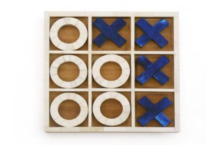 Blue and White noughts and crosses game perfect for a house warming