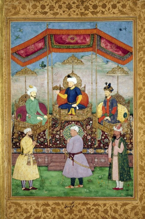 Timur Handing the Imperial Crown to Babur, by Govardhan