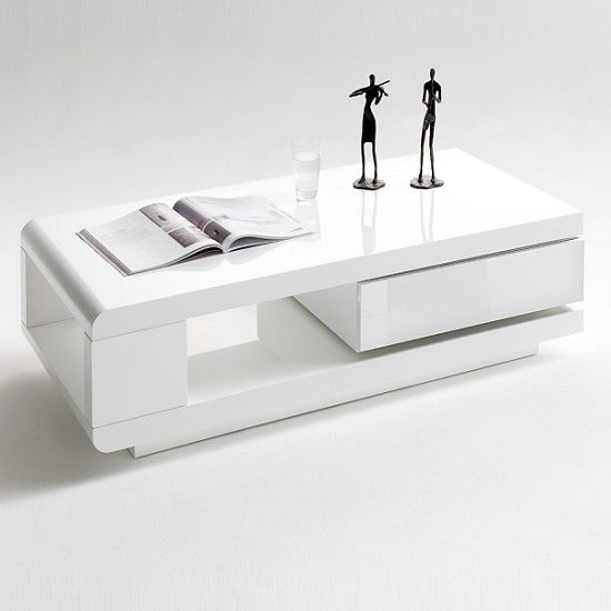 Ida Coffee Table In White High Gloss With Rotating Drawer Tables
