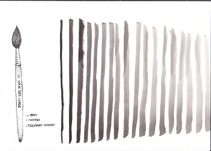 Wassen (inkt): Kleuring van een tekening met een verdunde inkt.