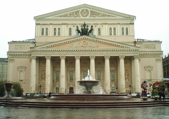 The front view of the Bolshoi Theatre near Teatralnaya metro station.  Not as emotional for me as Red Square or the Moscow Art Theatre, but still pretty significant.  It was beautiful.  Love the fountain.