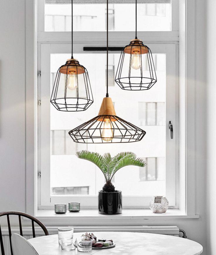 Sangkar Metal Cage Pendant Light With Wood Base. Scandinavian Styling Ceiling…
