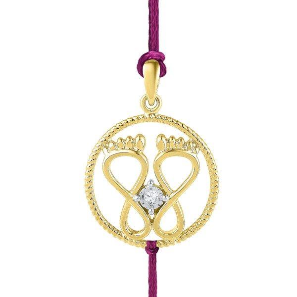 Jpearls 18 Kt Gold Classy Diamond Rakhi Cum Pendant   Gold and Diamond  #rakshabandhan #rakhigifts #jewellery #rakhis #brother #bracelet