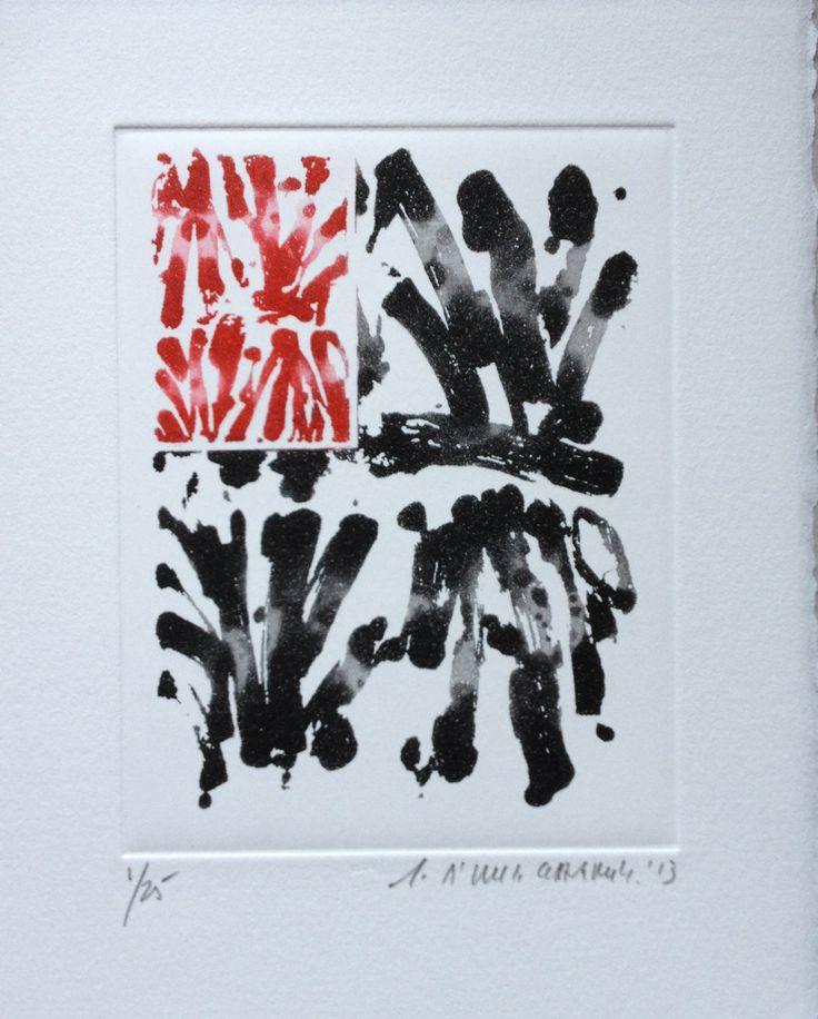 """gérard titus-carmel - aquatinte pour """"chemins ouvrant"""" (yves bonnefoy), 2014."""