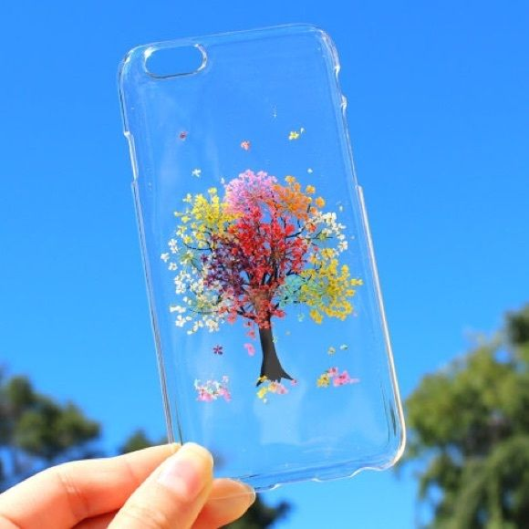 NEW DESIGN! Handmade Beautiful rainbow tree case Exquisite Hand Selected Natural Dried Pressed Flowers Handmade iPhone 4 4S 5 5S 6 / 6 Plus,SE, Samsung S3, S4, Galaxy s5 - Galaxy S6 , S 6 Edge, S6 Edge Plus, S7, S7 Edge, S7 Edge plus, Samsung A3, A5, A7, E7, Alpha G850, LG G3, Note 3, 4, 5, Expedia Z3/ mini, Z5/ mini, - Blossom TreeCrystal Clear Case. Accessories Phone Cases