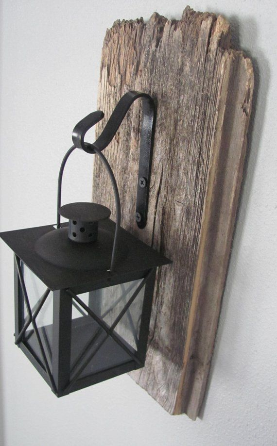 Barnwood Hanging Lantern – Rustic wall decor, hanging light, wall sconce, salvaged wood decor