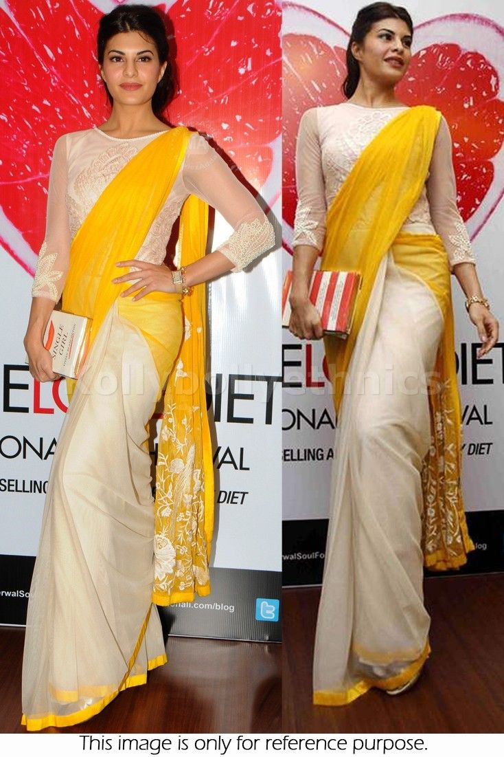 Bollywood Style Jacqueline Fernandez Net Saree in Cream and Yellow color