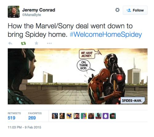 How the Marvel/Sony Spider-Man deal went down. (Sad about the pushed back movie release dates for Black Panther, etc., psyched about the Spider-Man/Avengers movies potential!)