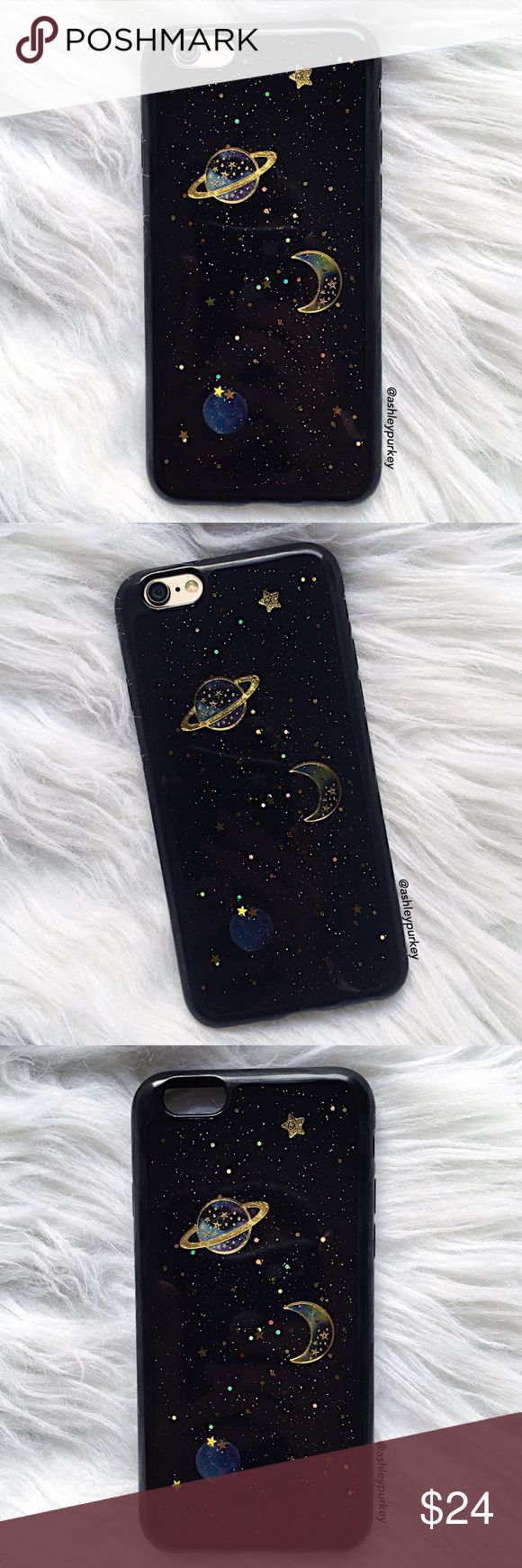 """black sparkly space iPhone 7 - 7 Plus phone case •sizes: iPhone 7 (4.7"""") iPhone 7 Plus (5.5"""") •flexible silicone •phone not included •no trades *please make sure you purchase the correct size case. i am not responsible if you purchase the wrong size item #: 119 B-Long Boutique Accessories Phone Cases"""