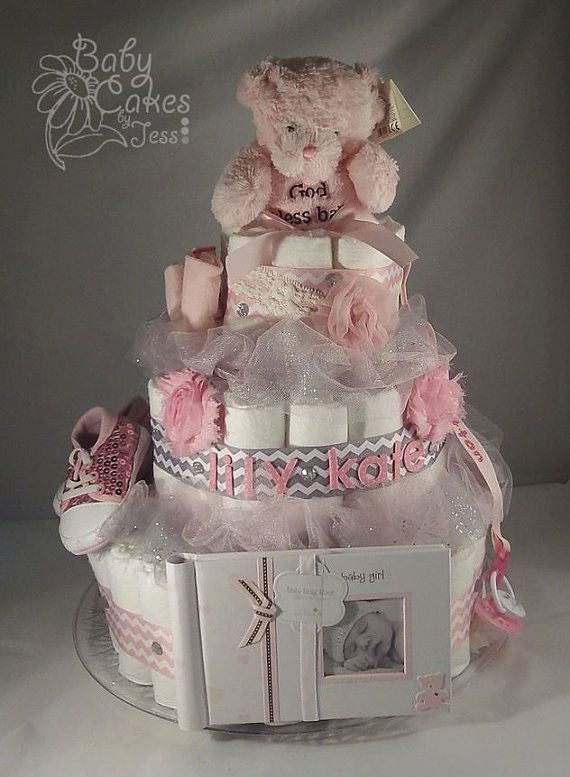 Pink and Grey Chevron Teddy Bear Diaper Cake