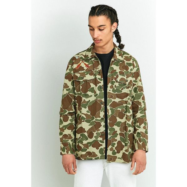 Levi's Camo Military Shirt Jacket (€83) ❤ liked on Polyvore featuring men's fashion, men's clothing, men's outerwear, men's jackets, khaki, mens military style jacket, mens military jacket, men's embroidered bomber jacket, mens camo jacket and mens utility jacket