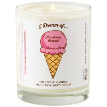 An adorable label with an ice cream touch.  This soy cream candle melts into body cream.  Candle scent is Strawberry Coconut.  By Mojo Spa.