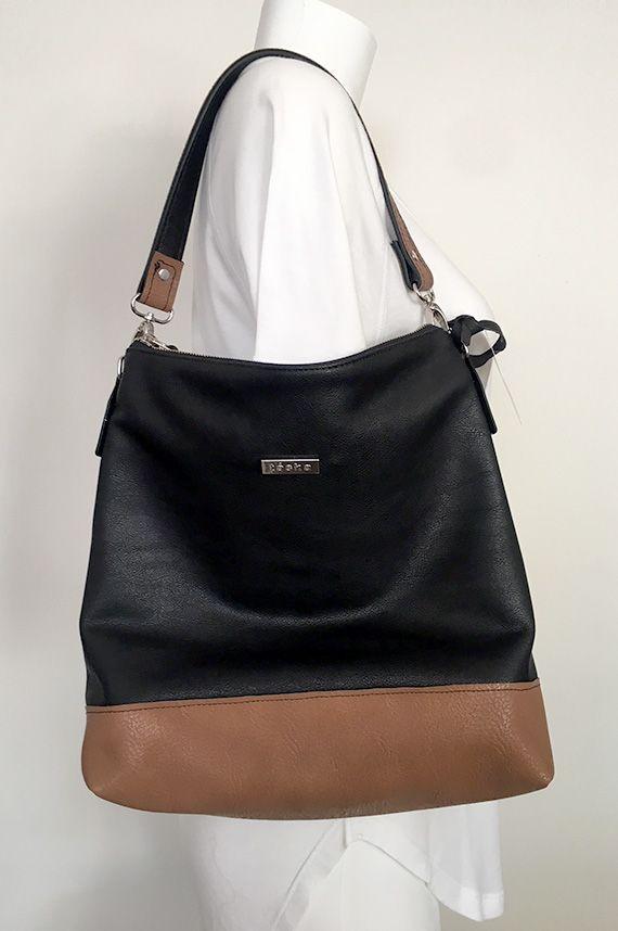 Vegan Leather Handbag Made In Canada Black And Cognac Cross Body Hobo