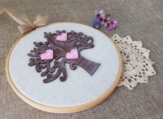 Family tree wall art: Wooden family tree - New home family gift - Nursery decor - Family tree artwork - Custom family tree - Custom hoop art