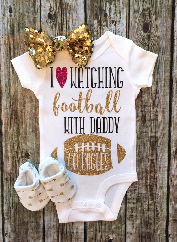 I Love Watching Football With Daddy Baby Girl Onesie - BellaPiccoli