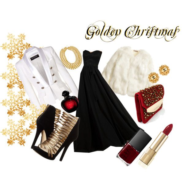 outfit Natalizio by una-pulkstene on Polyvore featuring moda, Balmain, H&M, MICHAEL Michael Kors, Emporio Armani, Blu Bijoux, Chanel, Dolce&Gabbana, Christian Dior and NARS Cosmetics