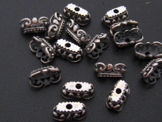 Silver Lentil Beads Caps 10 piece set S410a by PloiThai on Etsy, $18.00