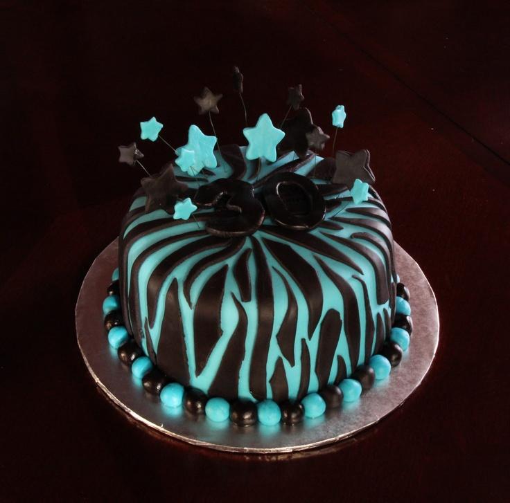 Heather Calvin Cakes: Turquoise and black zebra print cake