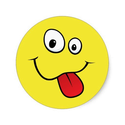 Smiley Face with Tongue Sticking Out | Funny goofy smiley sticking out his tongue, yellow round sticker