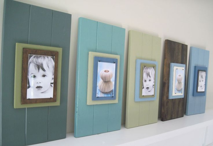 Love the different colors! Set of 5 Long Wood Cottage Plank Frames for 4X6. $199.00, via Etsy.
