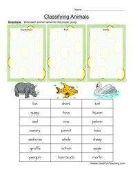 classifying animals worksheet mammals fish or birds. Black Bedroom Furniture Sets. Home Design Ideas