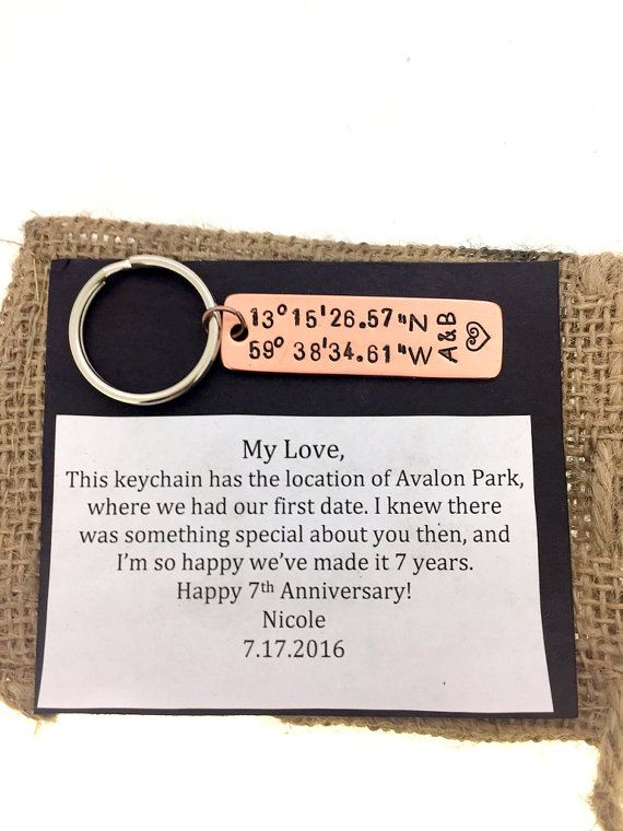 Anniversary Coordinate Keychain Copper Couples by SnappinStudio